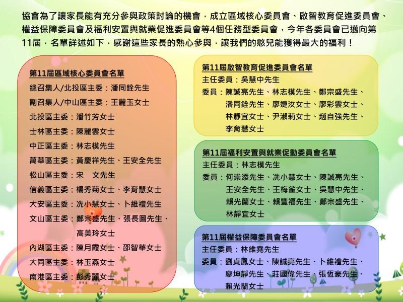 第11屆任務型委員會委員名單